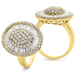 HRRCL932 Round &  Baguette Oval Shaped Halo Cluster Diamond Ring - yellow