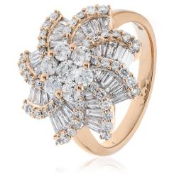 HRRCL933 Round & Baguette Spiral Cluster Diamond Ring - rose