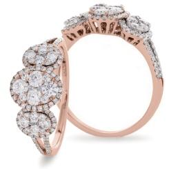 HRRCL941 Designer Round cut Cocktail Cluster Diamond Ring - rose