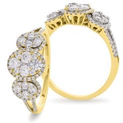 HRRCL941 Designer Round cut Cocktail Cluster Diamond Ring - yellow
