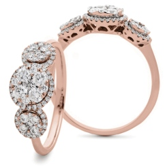 HRRCL942 Designer Round cut Cluster Diamond Ring - rose