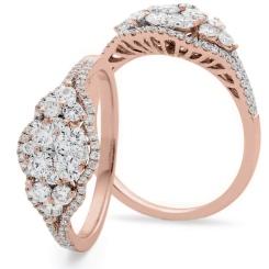HRRCL943 Designer Round cut Cluster Cocktail Diamond Ring - rose