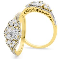 HRRCL943 Designer Round cut Cluster Cocktail Diamond Ring - yellow