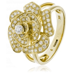 HRRCL944 Floral Round cut Cluster Cocktail Diamond Ring - yellow