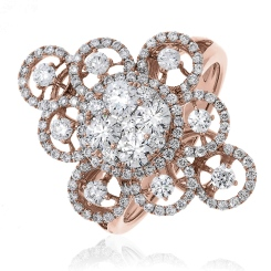 HRRCL945 Large Round cut Cluster Cocktail Diamond Ring - rose