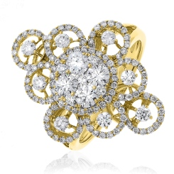 HRRCL945 Large Round cut Cluster Cocktail Diamond Ring - yellow