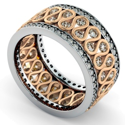 GIENAH Round cut Full Circle Designer Ring - rose