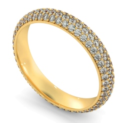 INDUS Round cut Triple Row Micro Pave Full Eternity Ring - yellow