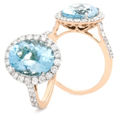 HRRGAQ1121 Round Shape Aquamarine & Diamond Single Halo Ring - rose