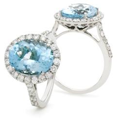 HRRGAQ1121 Oval Shape Aquamarine & Diamond Single Halo Ring - rose