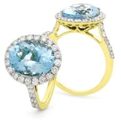 HRRGAQ1121 Oval Shape Aquamarine & Diamond Single Halo Ring - yellow