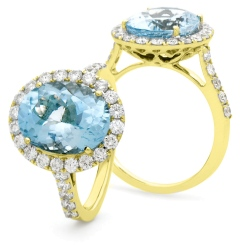 HRRGAQ1121 Oval Shape Aquamarine & Diamond Single Halo Ring - yellow