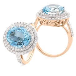 HRRGAQ1122 Round Shape Aquamarine & Diamond Double Halo Ring - rose