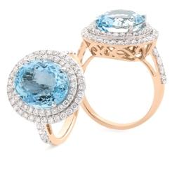 HRRGAQ1122 Round Shape Aquamarine & Diamond Double Halo Ring - rose