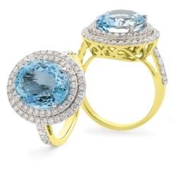 HRRGAQ1122 Round Shape Aquamarine & Diamond Double Halo Ring - yellow