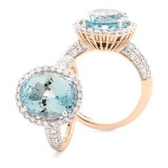 HRRGAQ1123 Pave Design Aquamarine & Diamond Single Halo Ring - rose