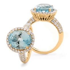 HRRGAQ1123 Pave Design Aquamarine & Diamond Single Halo Ring - rose