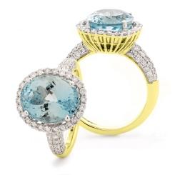 HRRGAQ1123 Pave Design Aquamarine & Diamond Single Halo Ring - yellow