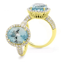 HRRGAQ1123 Pave Design Aquamarine & Diamond Single Halo Ring - yellow