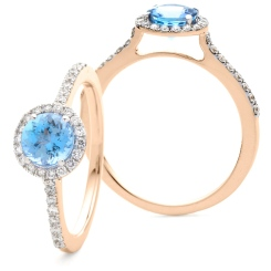 HRRGAQ1127 Round cut Aquamarine & Diamond Halo Ring - rose