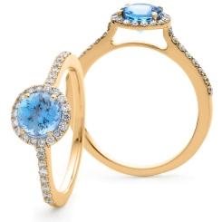 HRRGAQ1127 Round cut Aquamarine & Diamond Halo Ring - rose