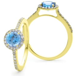 HRRGAQ1127 Round cut Aquamarine & Diamond Halo Ring - yellow