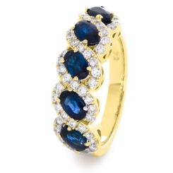 HRRGBS1001 Blue Sapphire & Diamond Infinity Swirl Eternity Ring - yellow