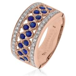 HRRGBS1003 Blue Sapphire & Diamond Cocktaill Eternity Ring - rose