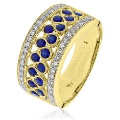 HRRGBS1003 Blue Sapphire & Diamond Cocktaill Eternity Ring - yellow