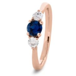HRRGBS1017 Blue Sapphire and Diamond Three Stone Ring - rose