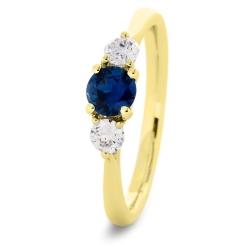 HRRGBS1017 Blue Sapphire and Diamond Three Stone Ring - yellow