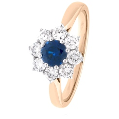 HRRGBS1026 Round cut Blue Sapphire & Diamond Halo Ring - rose