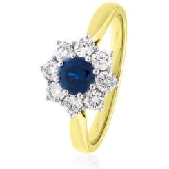 HRRGBS1026 Round cut Blue Sapphire & Diamond Halo Ring - yellow