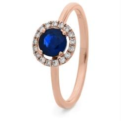 HRRGBS1043 Blue Sapphire & Diamond Single Band Halo Ring - rose