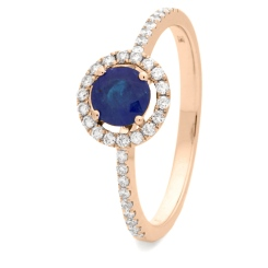 HRRGBS1045 Blue Sapphire & Diamond Shoulder Halo Ring - rose