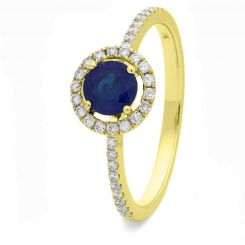 HRRGBS1045 Blue Sapphire & Diamond Shoulder Halo Ring - yellow