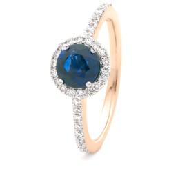 HRRGBS1047 Blue Sapphire & Diamond Shoulder Halo Ring - rose
