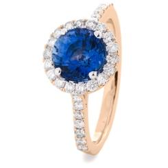 HRRGBS1050 Blue Sapphire Single Halo Diamond Ring - rose