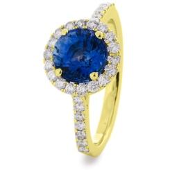 HRRGBS1050 Blue Sapphire Single Halo Diamond Ring - yellow