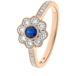 HRRGBS1062 Deco Round cut Blue Sapphire Cocktail Diamond Ring - rose