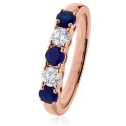 HRRGBS982 Blue Sapphire & Diamond 5 Stone Diamond Ring - rose