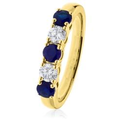 HRRGBS982 Blue Sapphire & Diamond 5 Stone Diamond Ring - yellow