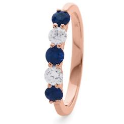 HRRGBS985 Blue Sapphire 5 Stone Diamond Ring - rose
