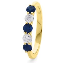 HRRGBS985 Blue Sapphire 5 Stone Diamond Ring - yellow