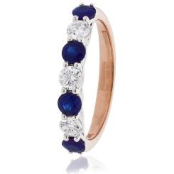 HRRGBS988 Blue Sapphire 7 Stone Diamond Ring - rose