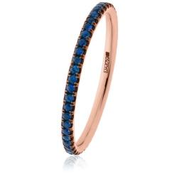 HRRGBS997 Blue Sapphire Full Eternity Ring - rose