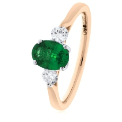 HRRGEM1018 Emerald and Diamond Three Stone Ring - rose
