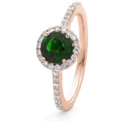 HRRGEM1048 Emerald & Diamond Single Band Halo Ring - rose