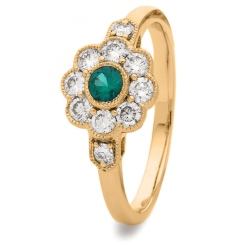 HRRGEM1065 Deco Round Emerald & Diamond Cluster Ring - rose