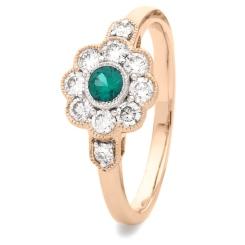 HRRGEM1065 Deco Round Emerald & Diamond Cluster Ring - rose